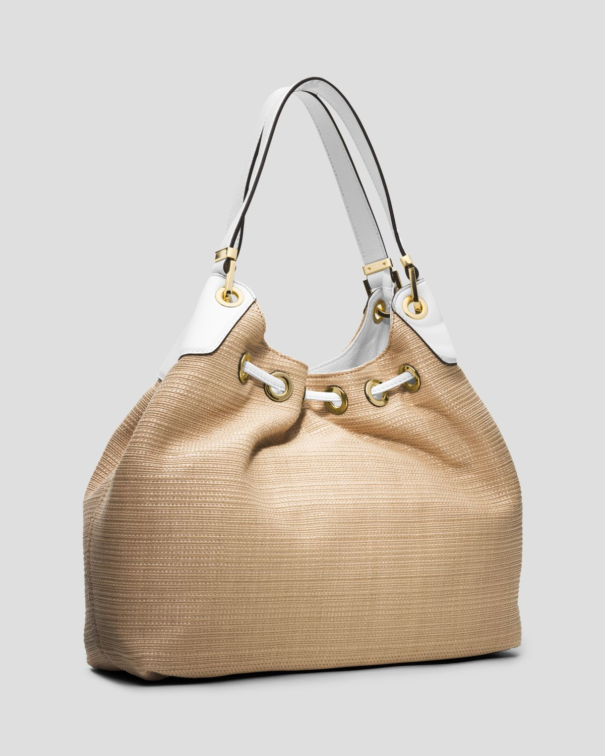 68afc8b3a0f8a Lyst - MICHAEL Michael Kors Tote Middleton Large Straw Drawstring ...