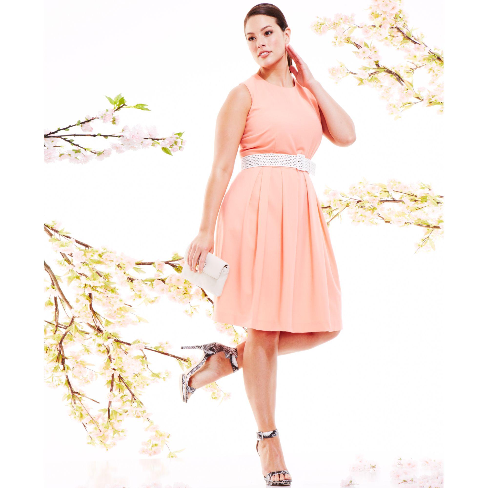 161c1c811fc Lyst - Calvin Klein Plus Size Sleeveless Belted Aline Dress in Pink