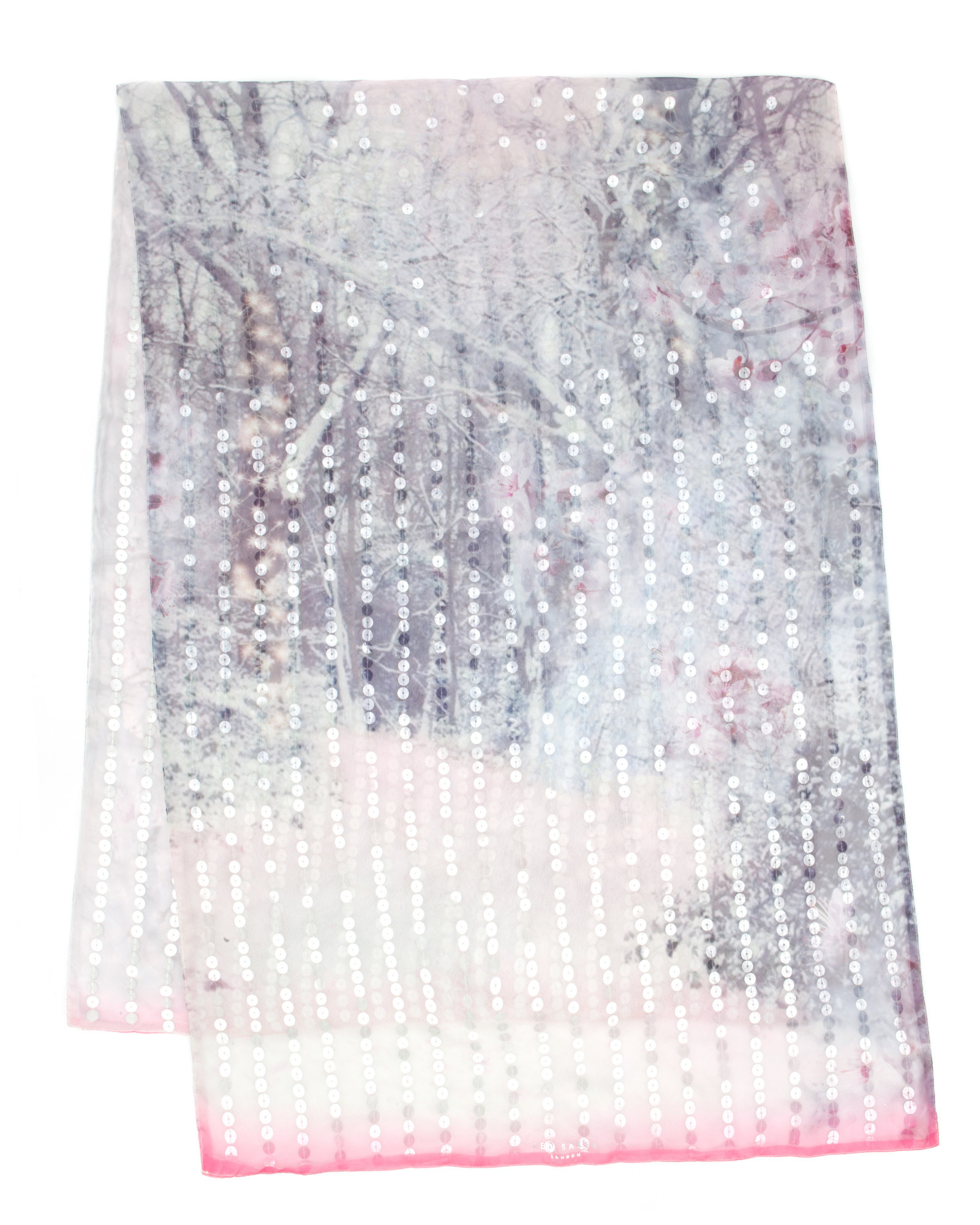 f2639795b7c29 Lyst - Ted Baker Sequin Snow Blossom Scarf in White