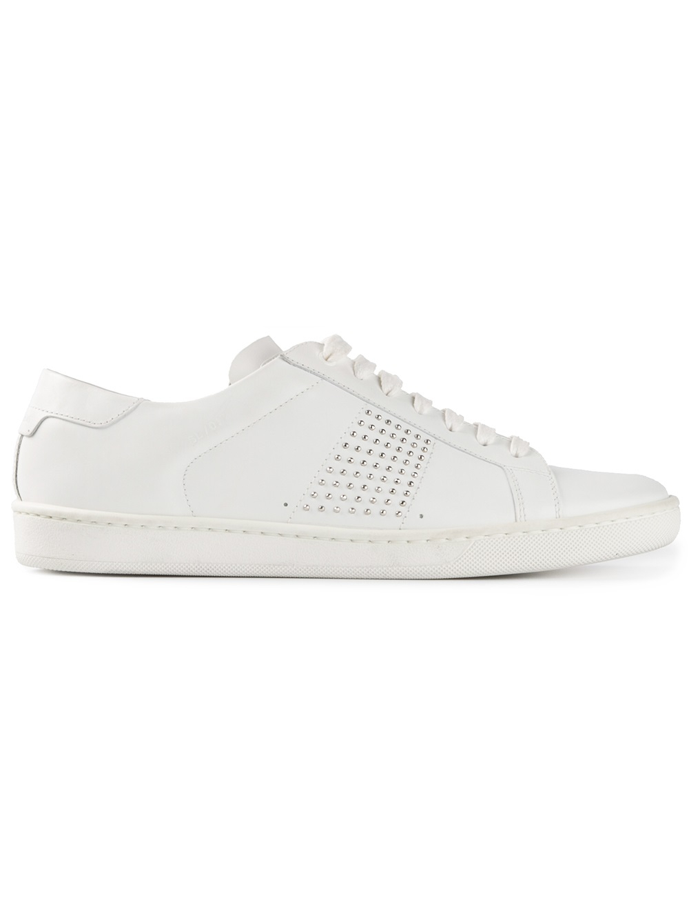 2c2b9769487c ... Planet Sports 2018 sneakers d87ff 7cd2f  Lyst - Saint Laurent Studded  Court Classic Sneaker in White offer discounts 8ca12 178fc ...