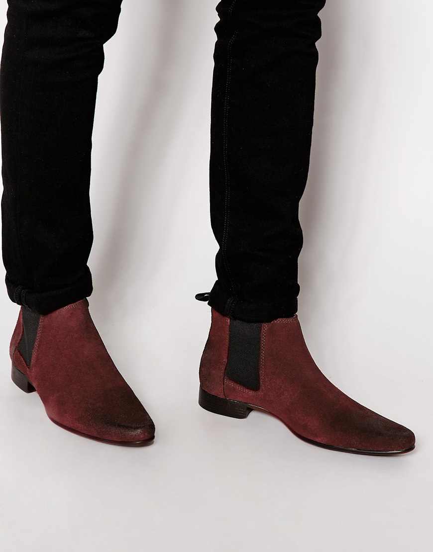 Lyst Asos Chelsea Boots In Suede In Red For Men