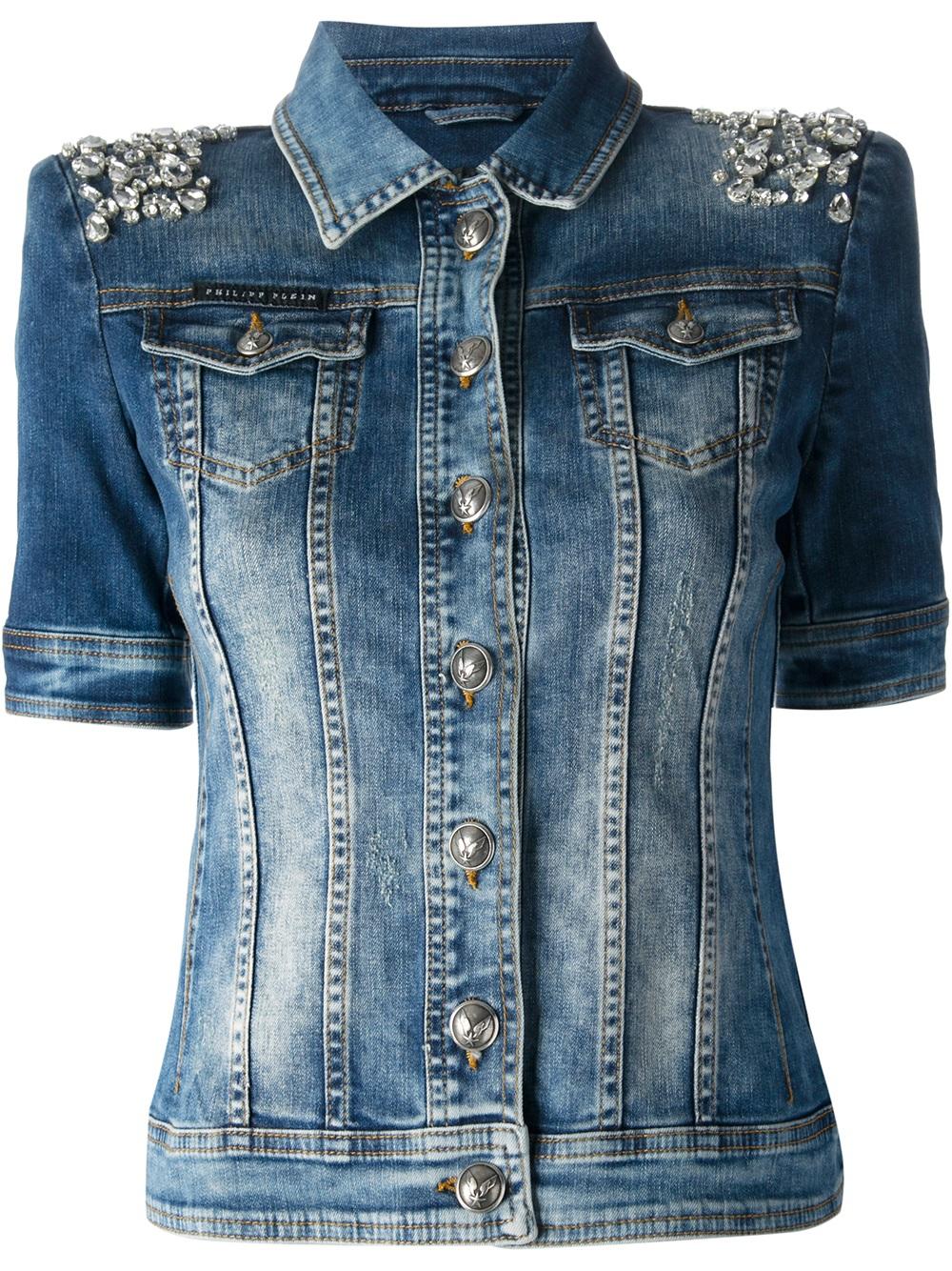 philipp plein crystal embellished stretch denim jacket in. Black Bedroom Furniture Sets. Home Design Ideas