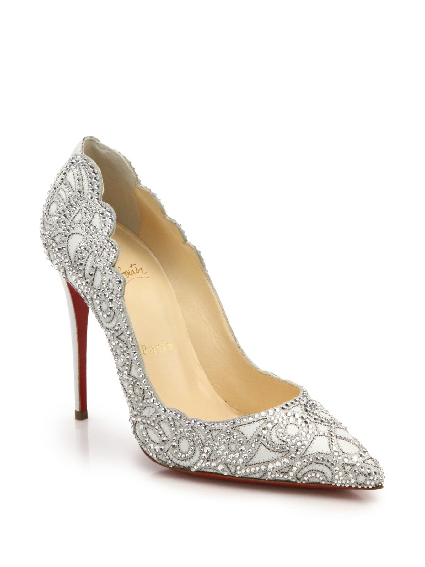 Lyst Christian Louboutin Top Vague Crystal Leather Pumps