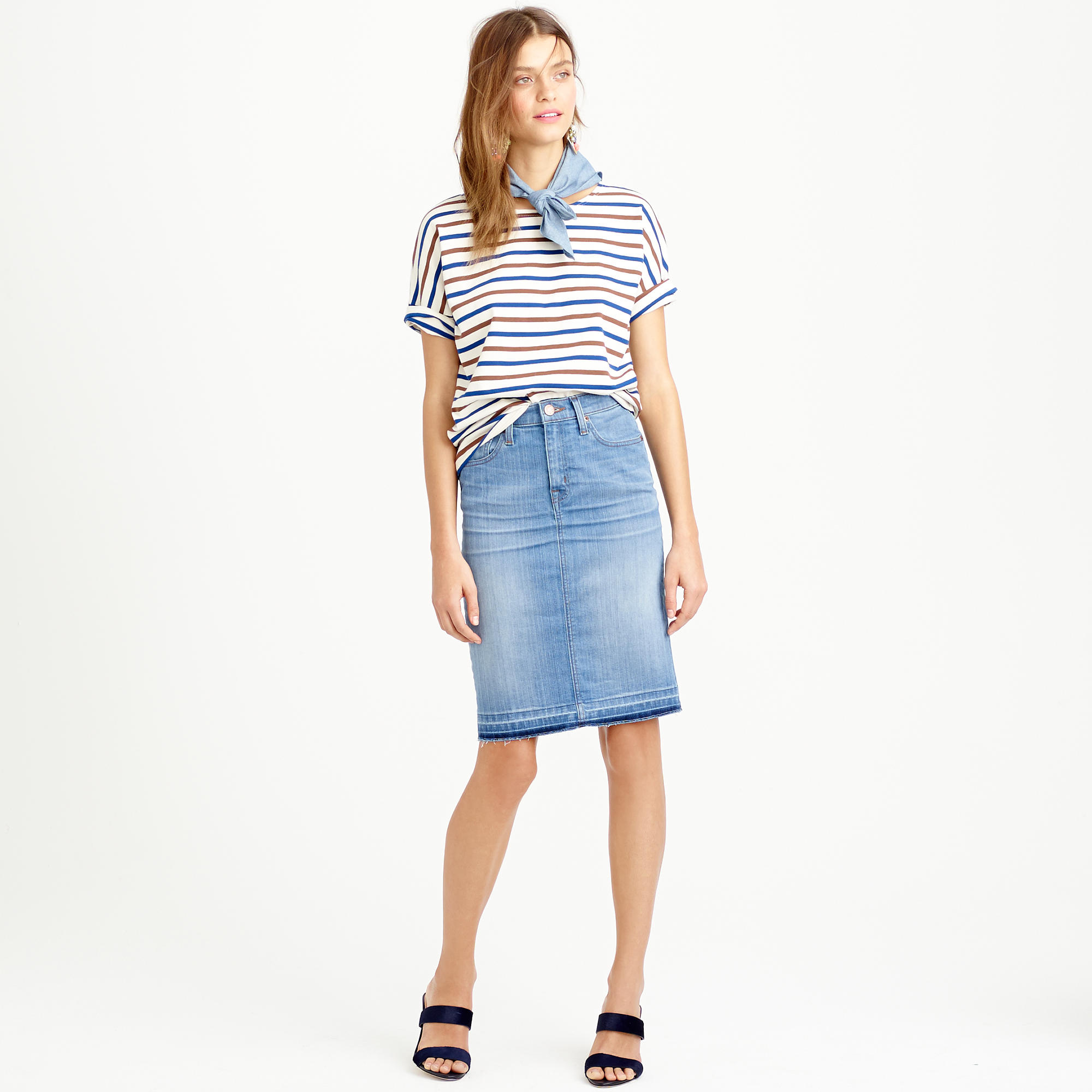J.crew Frayed Denim Pencil Skirt in Blue | Lyst