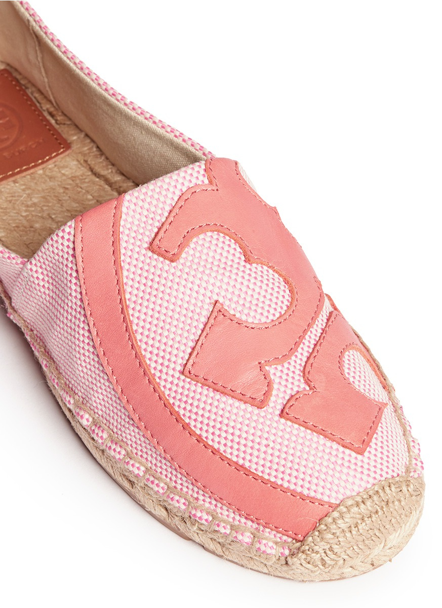 404faf6fadb ... ebay tory burch lonnie leather logo canvas espadrille flats in pink lyst  b55b6 0c472