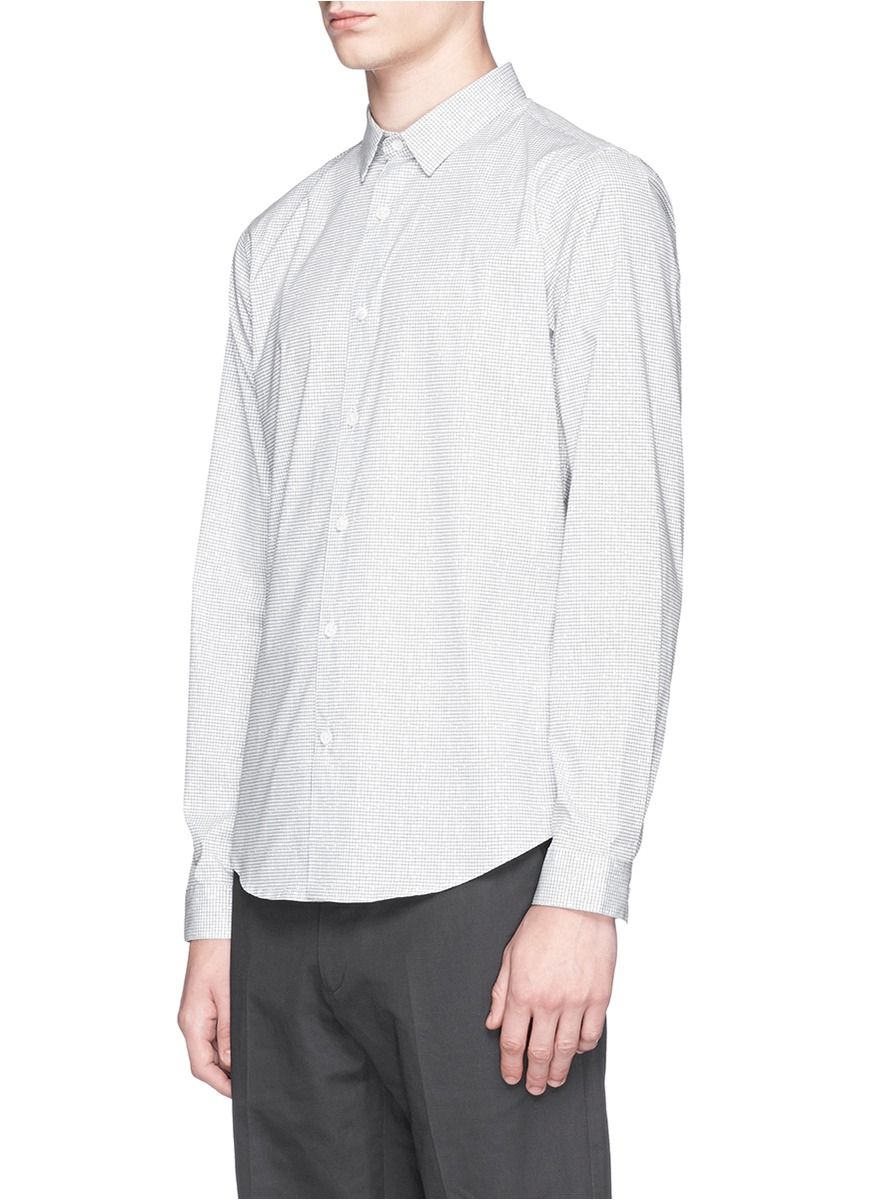 Lyst theory 39 stephan 39 grid stretch poplin shirt in white for What is a poplin shirt