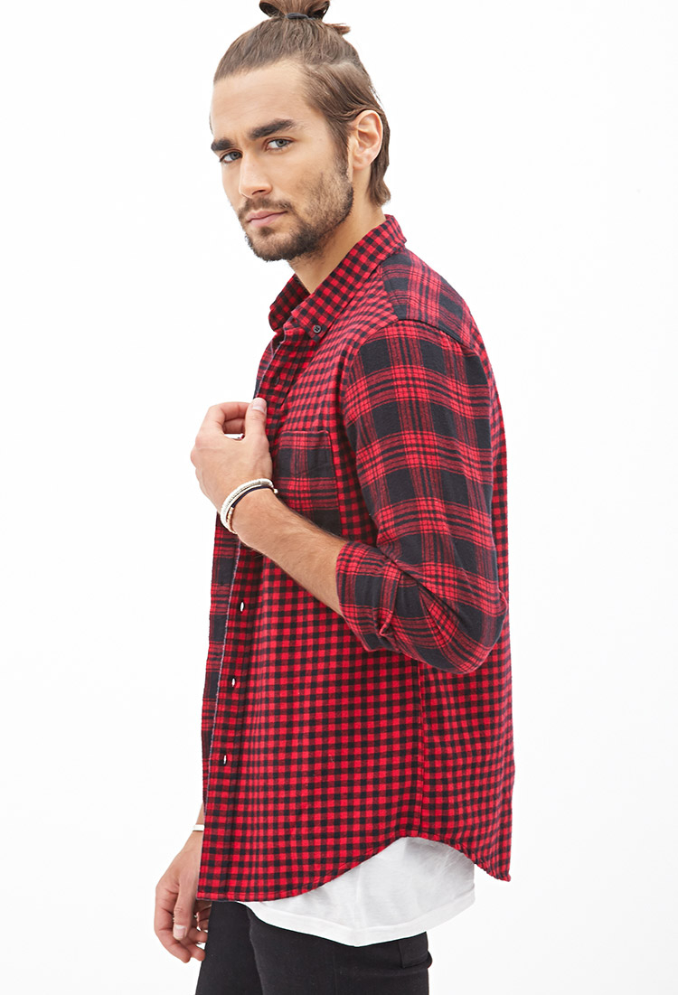 Forever 21 Tartan Gingham Flannel Shirt In Red For Men