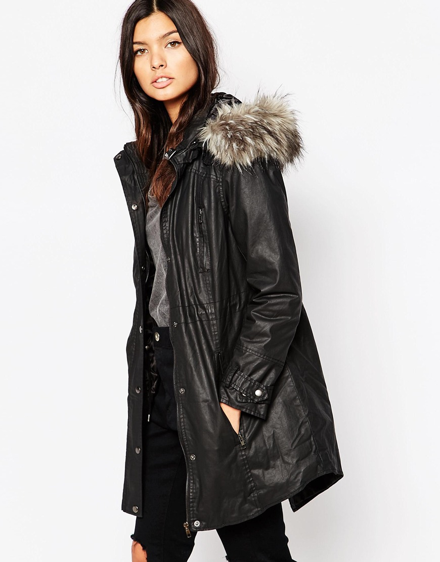 Urbancode Parka With Faux Fur Lined Hood in Black | Lyst