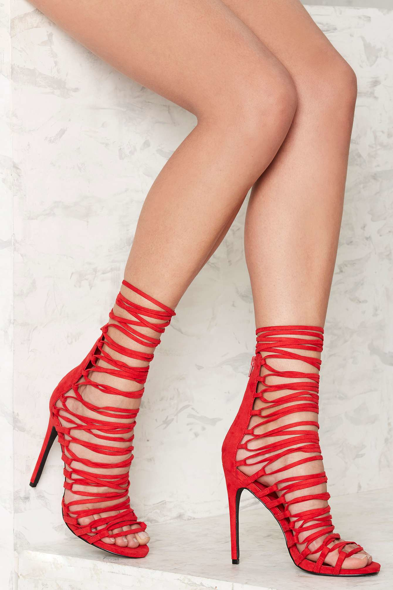 Privileged Strap Happy Lace Up Heel in Red | Lyst