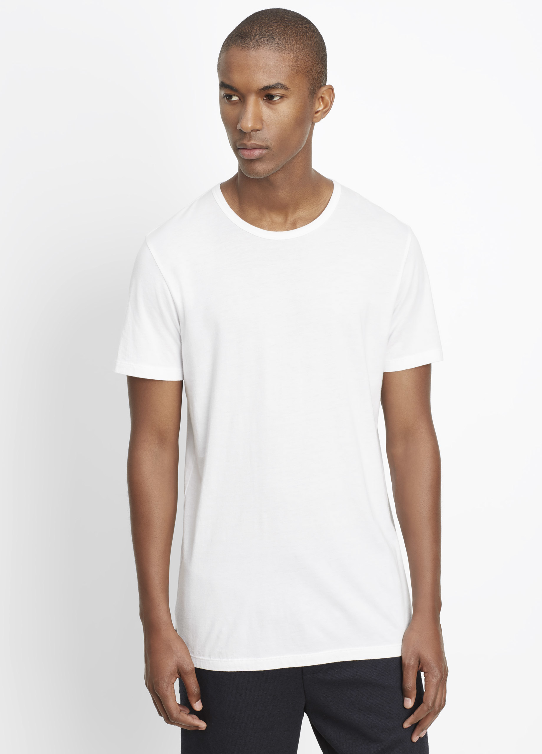 fb31561e026 Vince Pima Cotton Long And Lean Short Sleeve Crew Neck Tee in White ...
