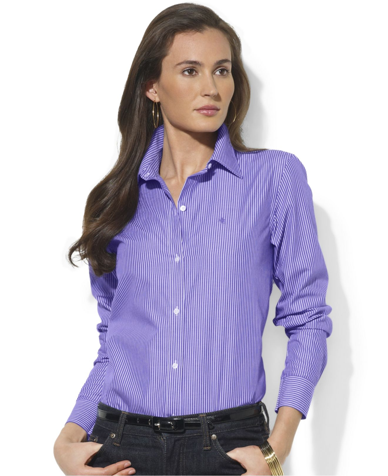 Lyst Lauren By Ralph Lauren Wrinkle Free Striped Shirt In Purple