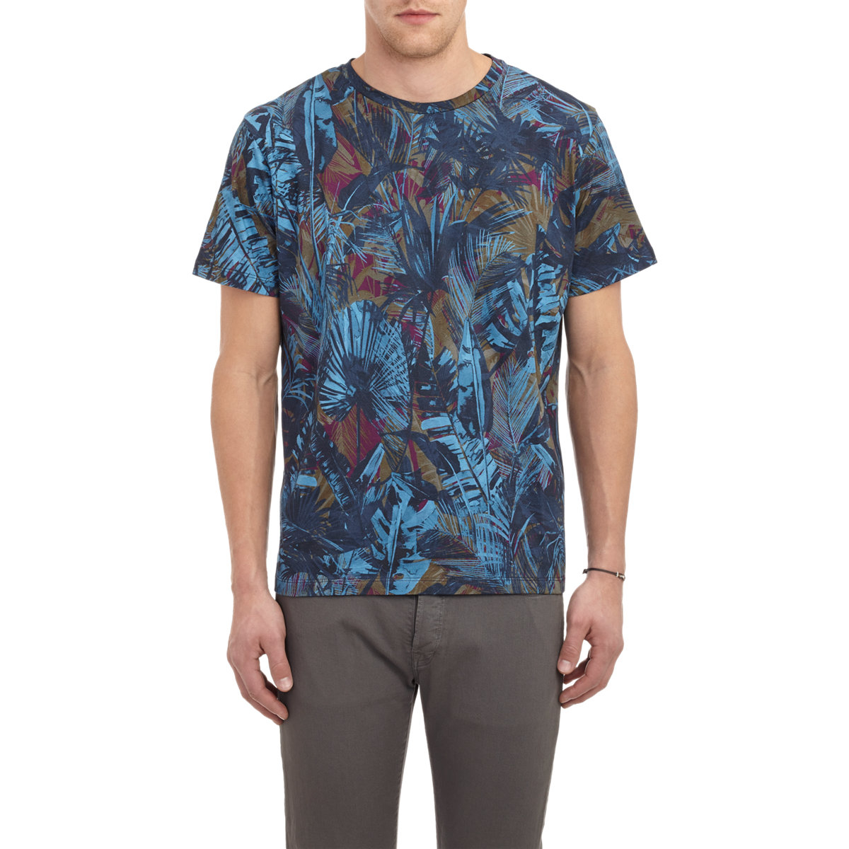 Ps By Paul Smith Tropical Print T Shirt In Blue For Men Lyst