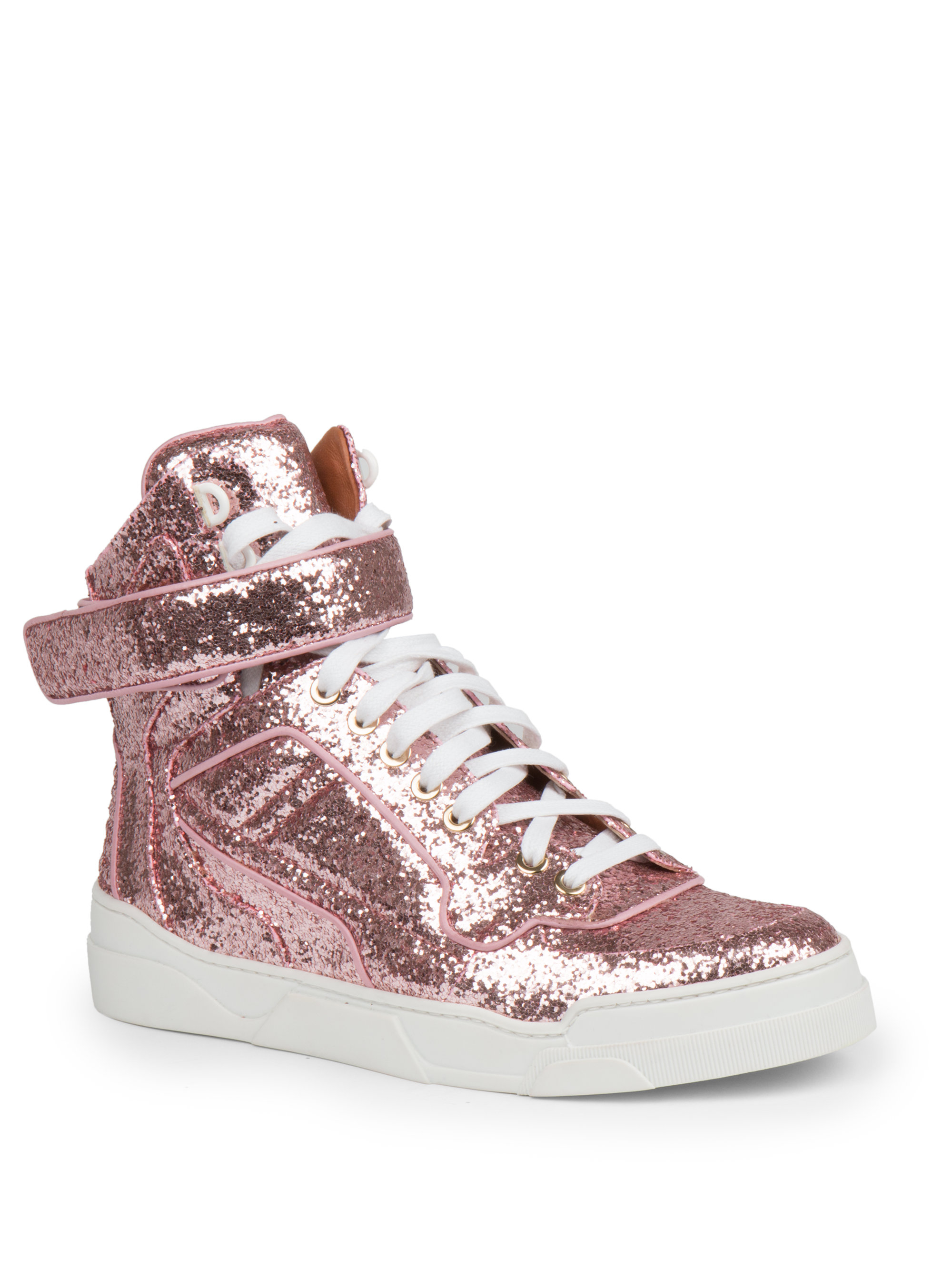 Givenchy Glitter High Top Sneaker In Pink Lyst