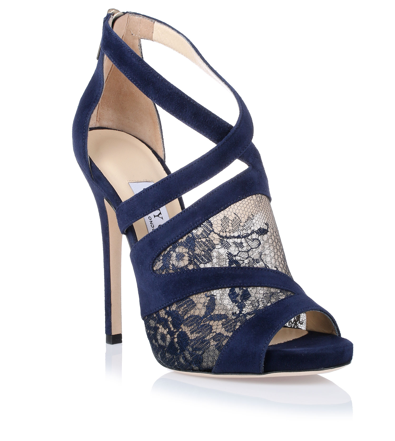 jimmy choo vantage navy lace sandal in blue navy lyst