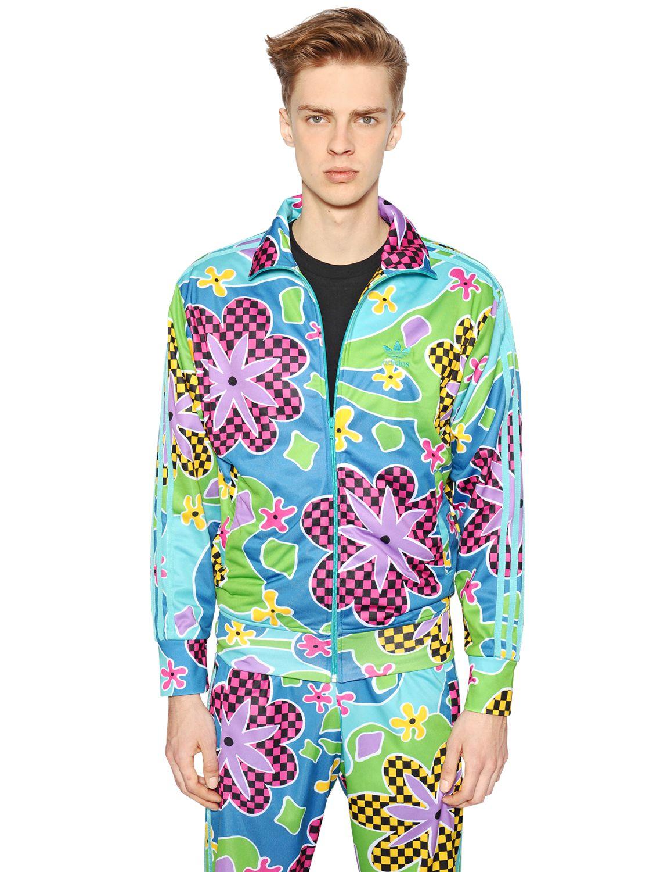 e0dc7564abe7 Lyst - Jeremy Scott for adidas Floral Printed Nylon Sweatshirt for Men