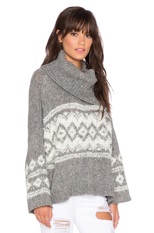 Free people Fairisle Split Neck Sweater in Gray | Lyst
