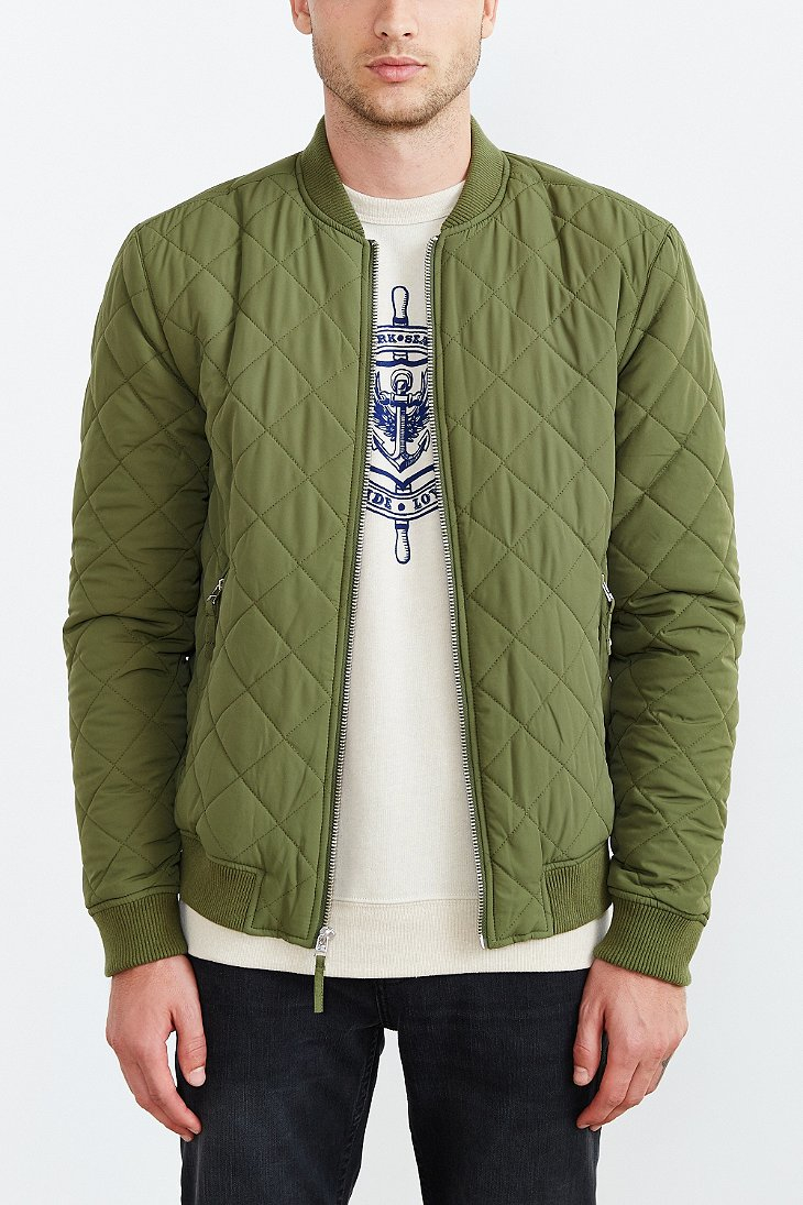 Your neighbors Devon Quilted Bomber Jacket in Green for Men | Lyst