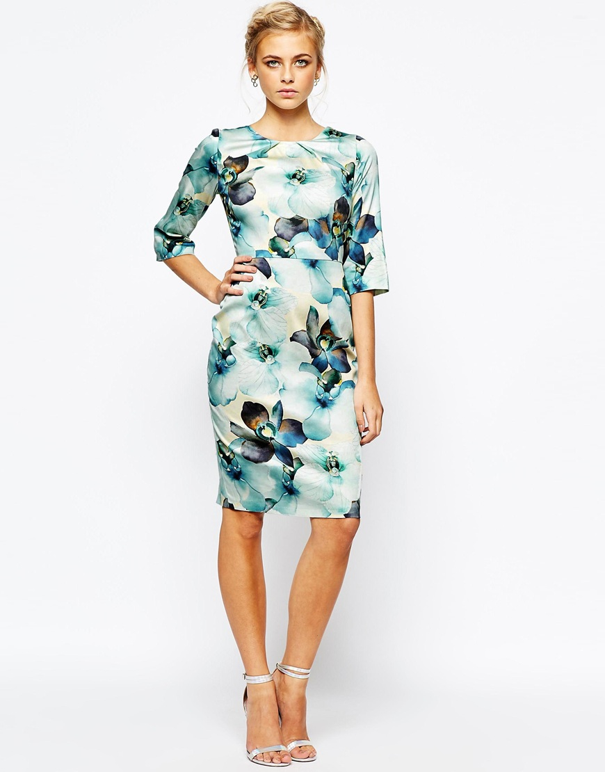 Closet Womens Floral Print Midi Dress With 3/4 Sleeve Overscale Floral - Dresses