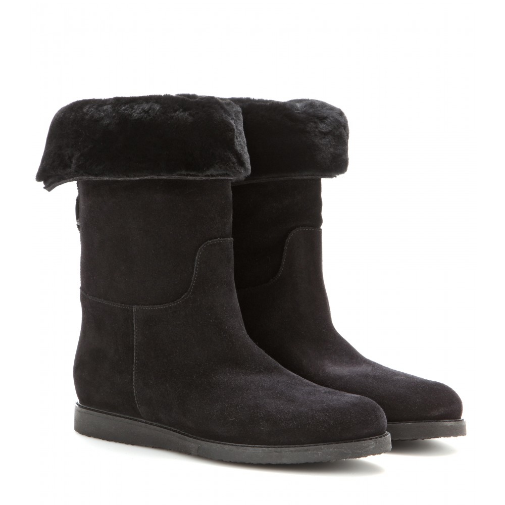 ferragamo my ease sheepskin lined suede boots in black lyst