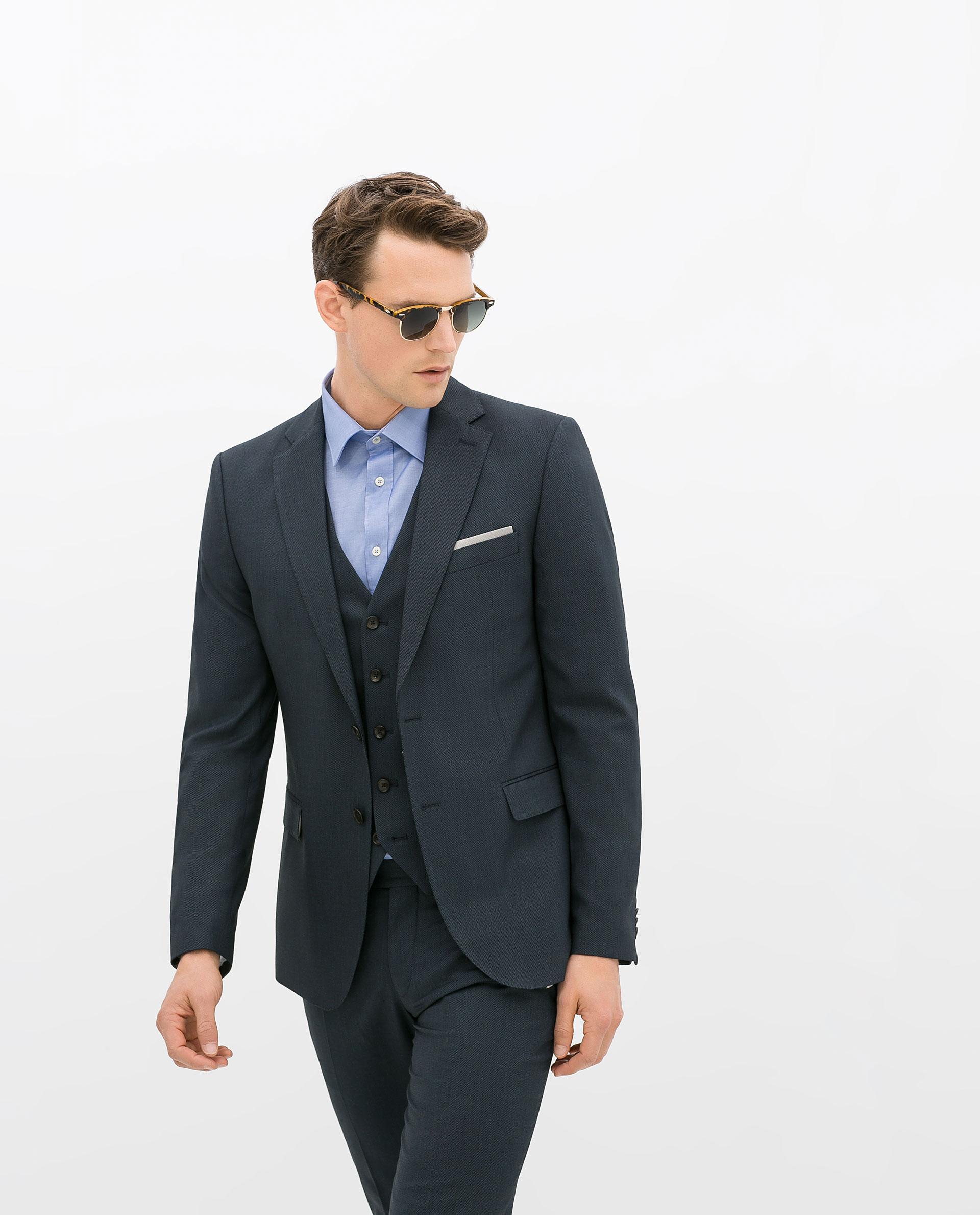 Zara Birdseye Suit Blazer in Blue for Men   Lyst