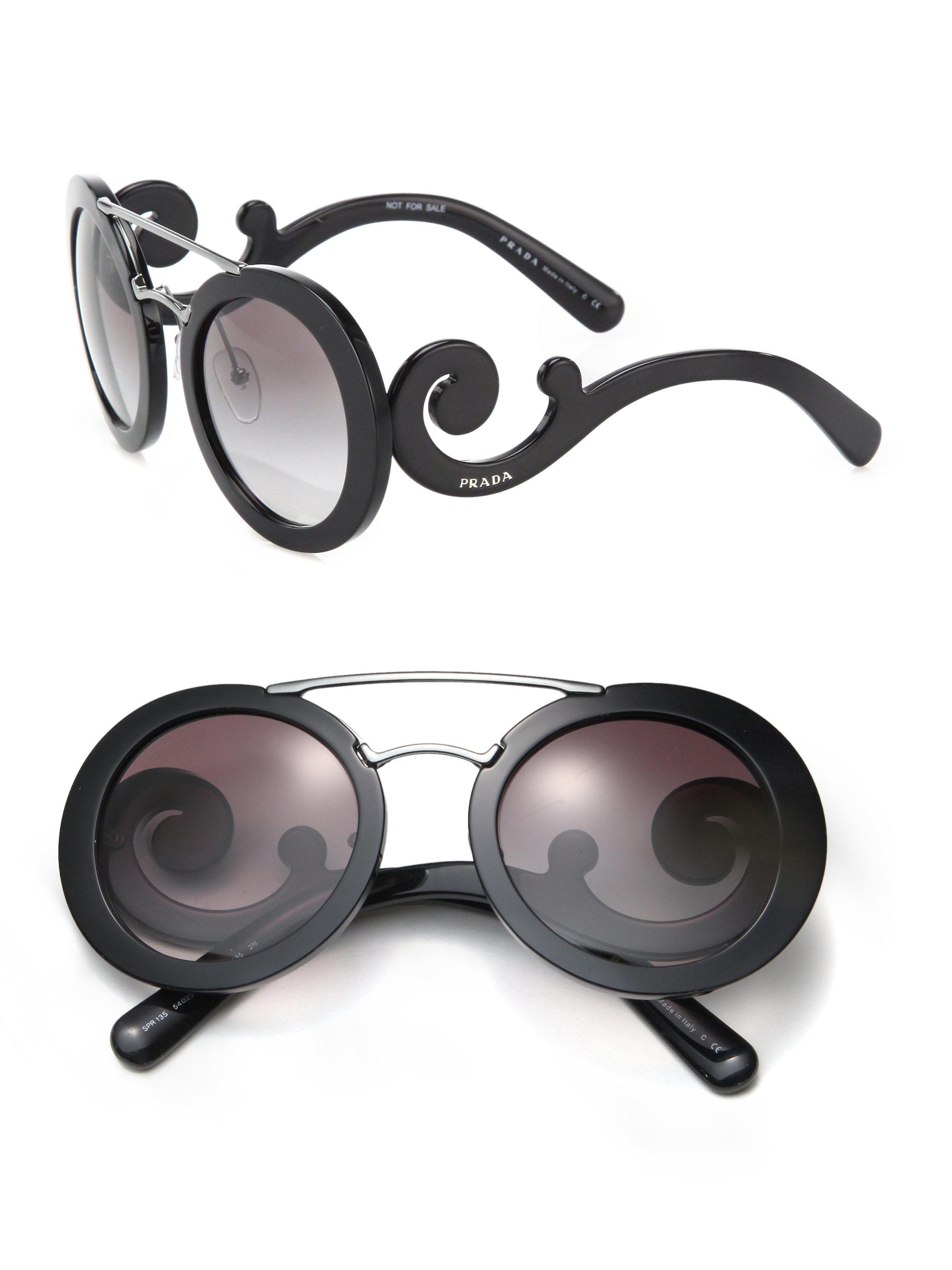 e404b3879d429 ... sale lyst prada 54mm round acetate metal sunglasses in black 72022 99aed