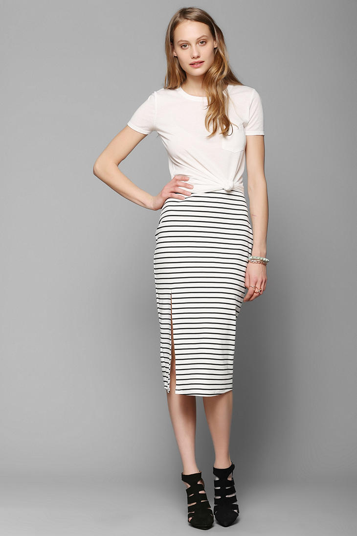 Urban outfitters Bdg Stripe Fitted Midi Skirt in White | Lyst
