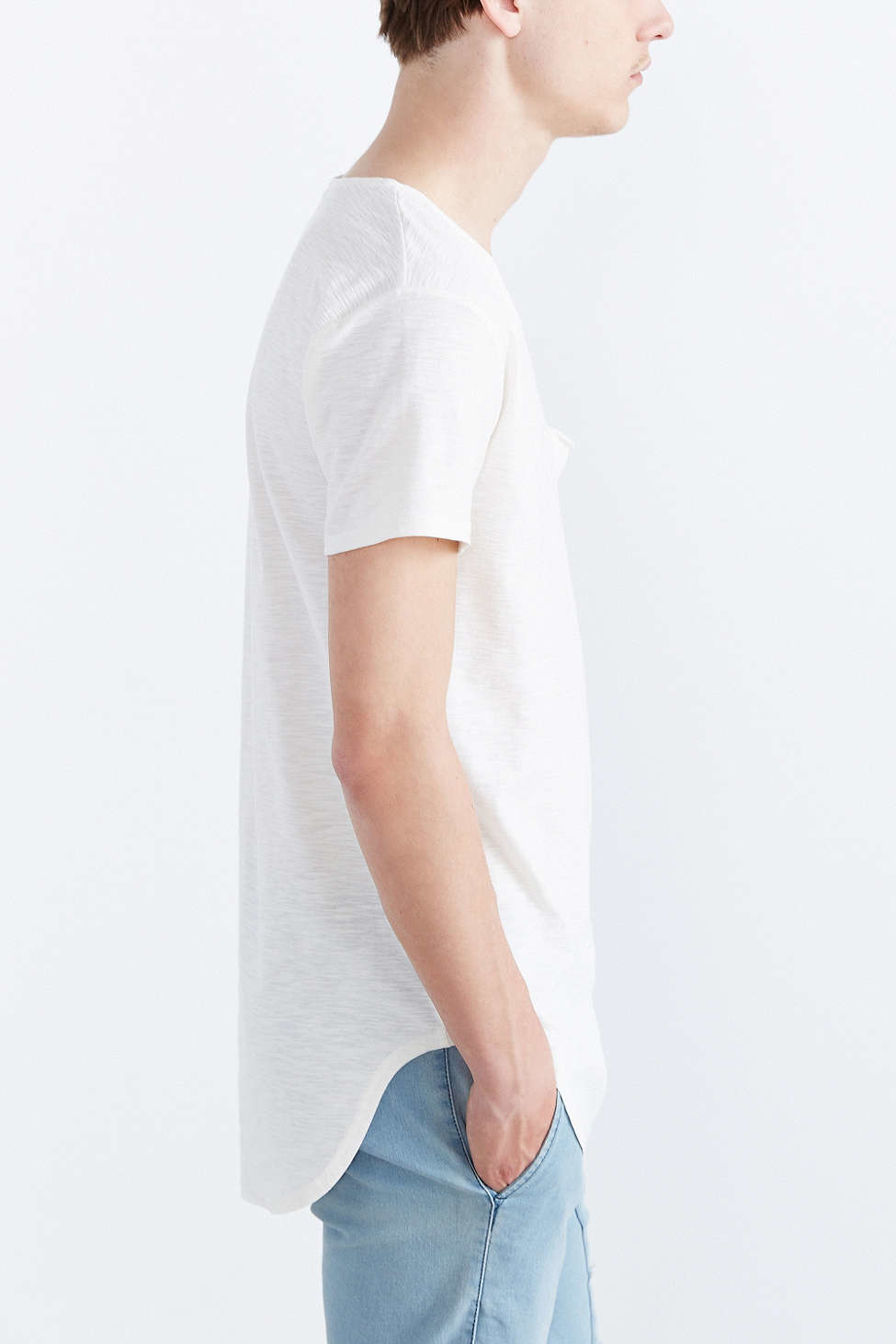 f4a803045eb Feathers Slub Curved Hem Tee in White for Men - Lyst