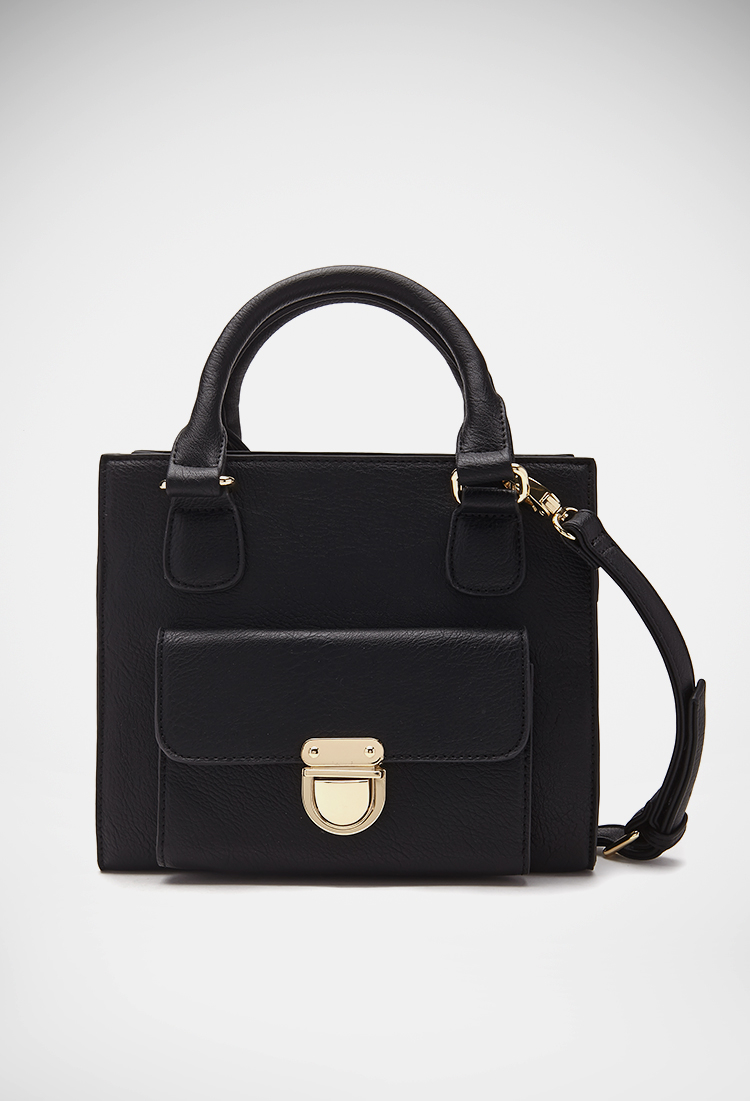 forever 21 handbags forever 21 structured faux leather satchel in black lyst 30621