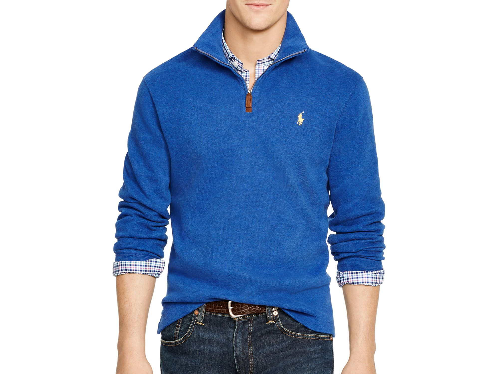 ralph lauren polo french rib half zip pullover in blue for. Black Bedroom Furniture Sets. Home Design Ideas