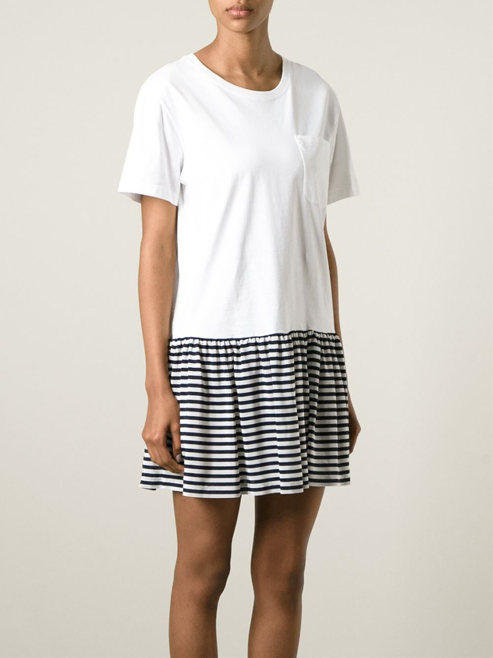 Lyst red valentino striped skirt cotton t shirt dress in for Dressy white t shirt