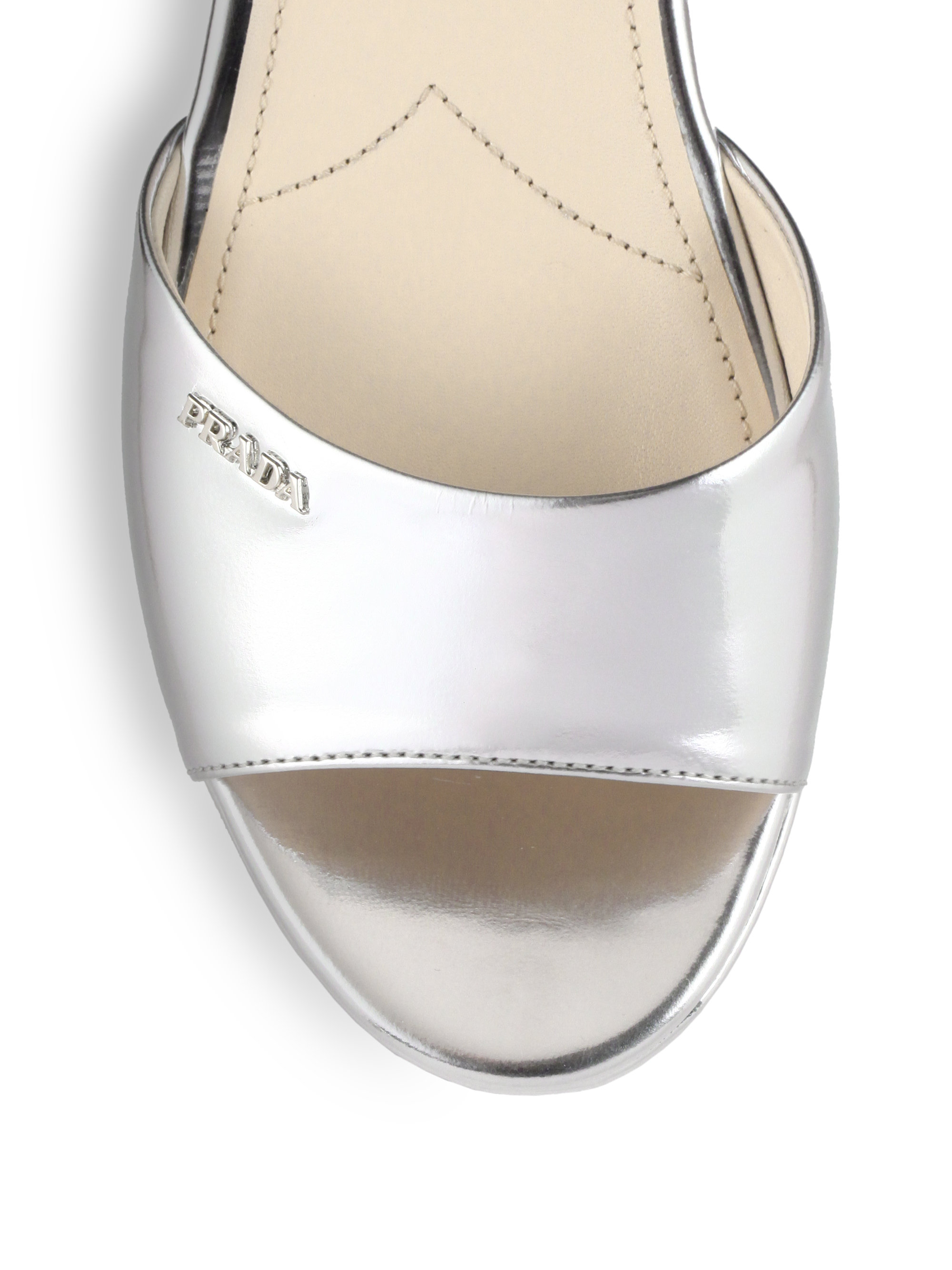 2d3c58773a8 ... prada leather and metallic leather wedge ...