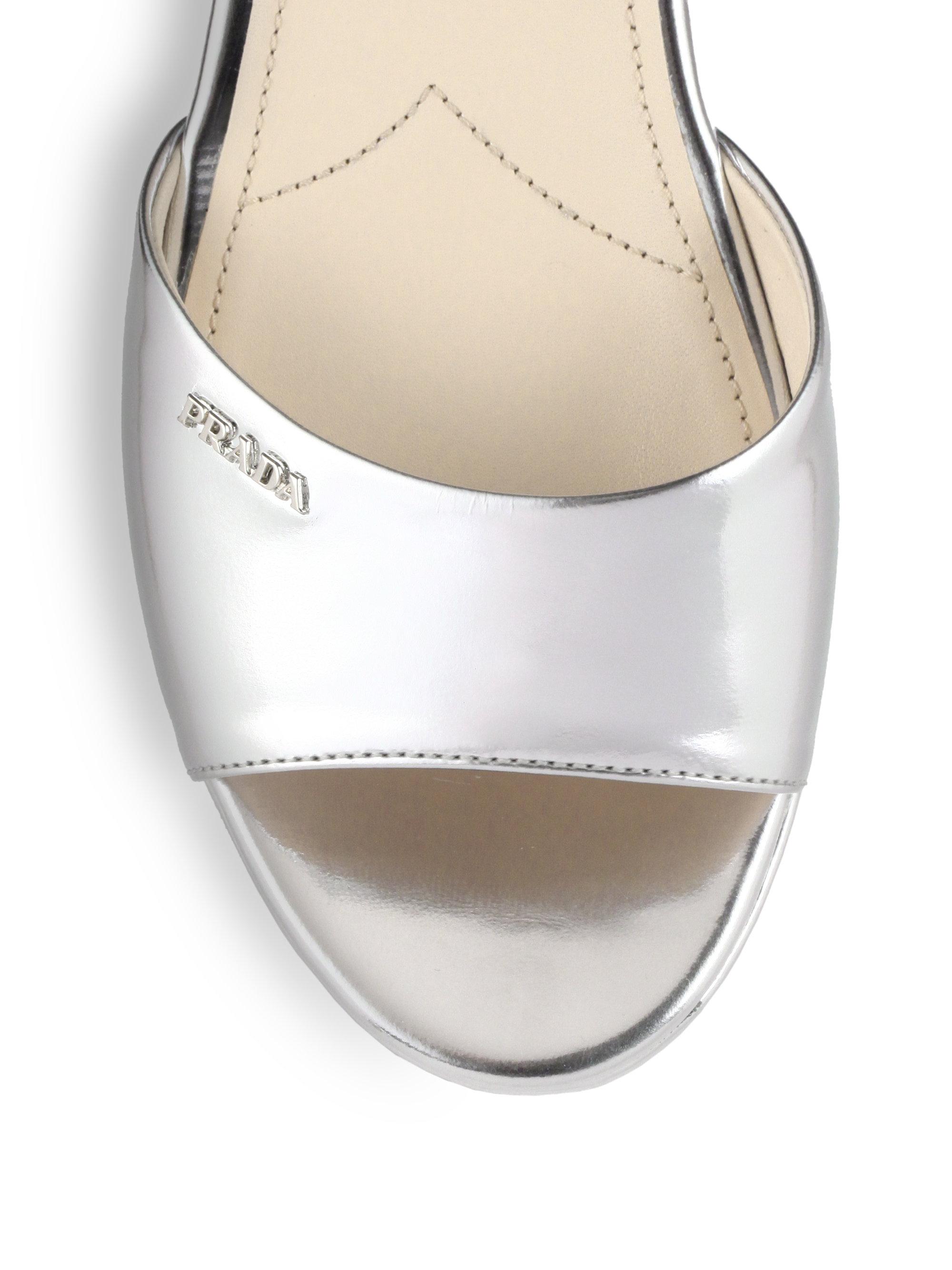 buy a prada bag - Prada Metallic Leather Platform Wedge Sandals in Silver (ARGENTO ...
