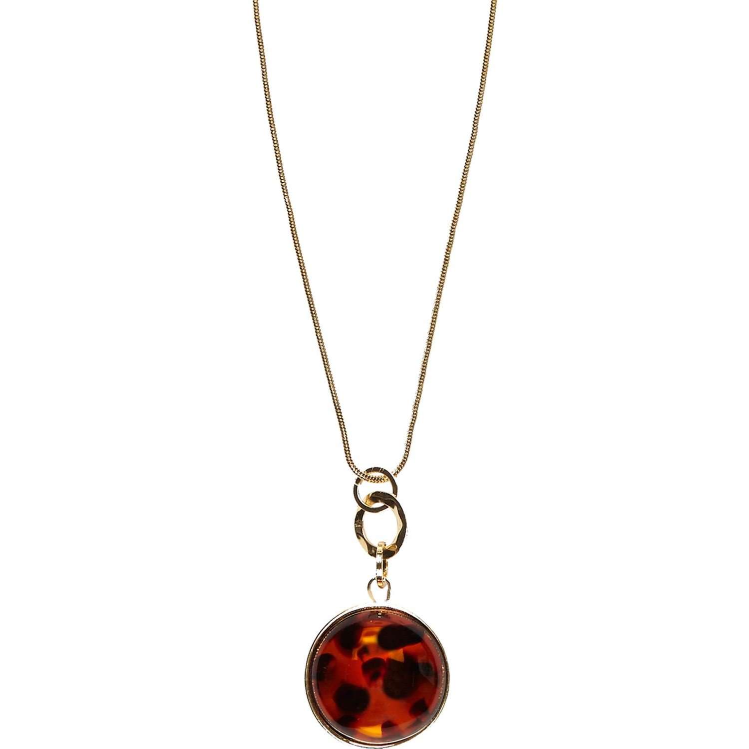 river island brown tortoise shell necklace in brown