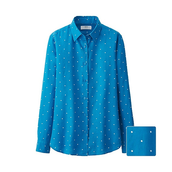 Uniqlo Premium Linen Patterned Long Sleeve Shirt In Blue
