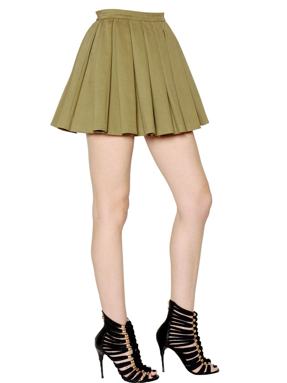 balmain pleated stretch cotton denim skirt in khaki lyst