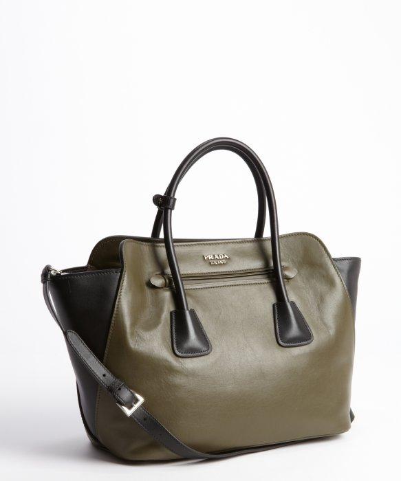 04e67 fb0f5  switzerland lyst prada army green and black leather top handle  bag in green 1eaf1 9c3d5 24c5b3260aca3