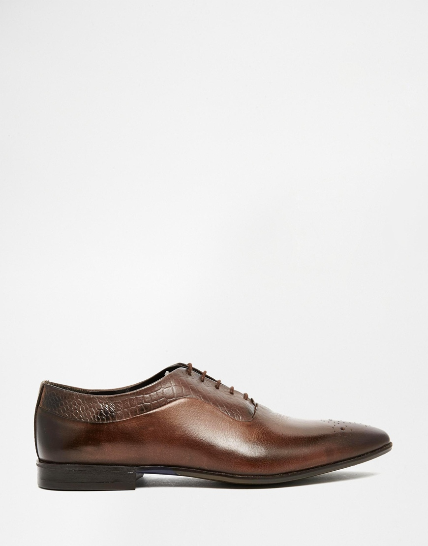 asos oxford shoes in brown leather with brogue toe detail