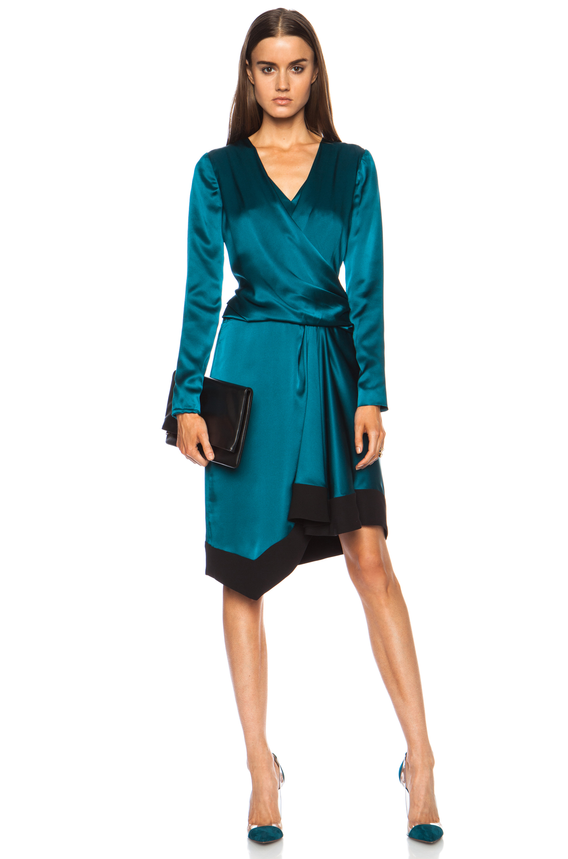 J. mendel Asymmetrical Wrap Silk Dress in Green | Lyst