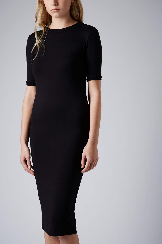 8ea3e0ebb7b9d TOPSHOP Rib Trim Midi Dress in Black - Lyst