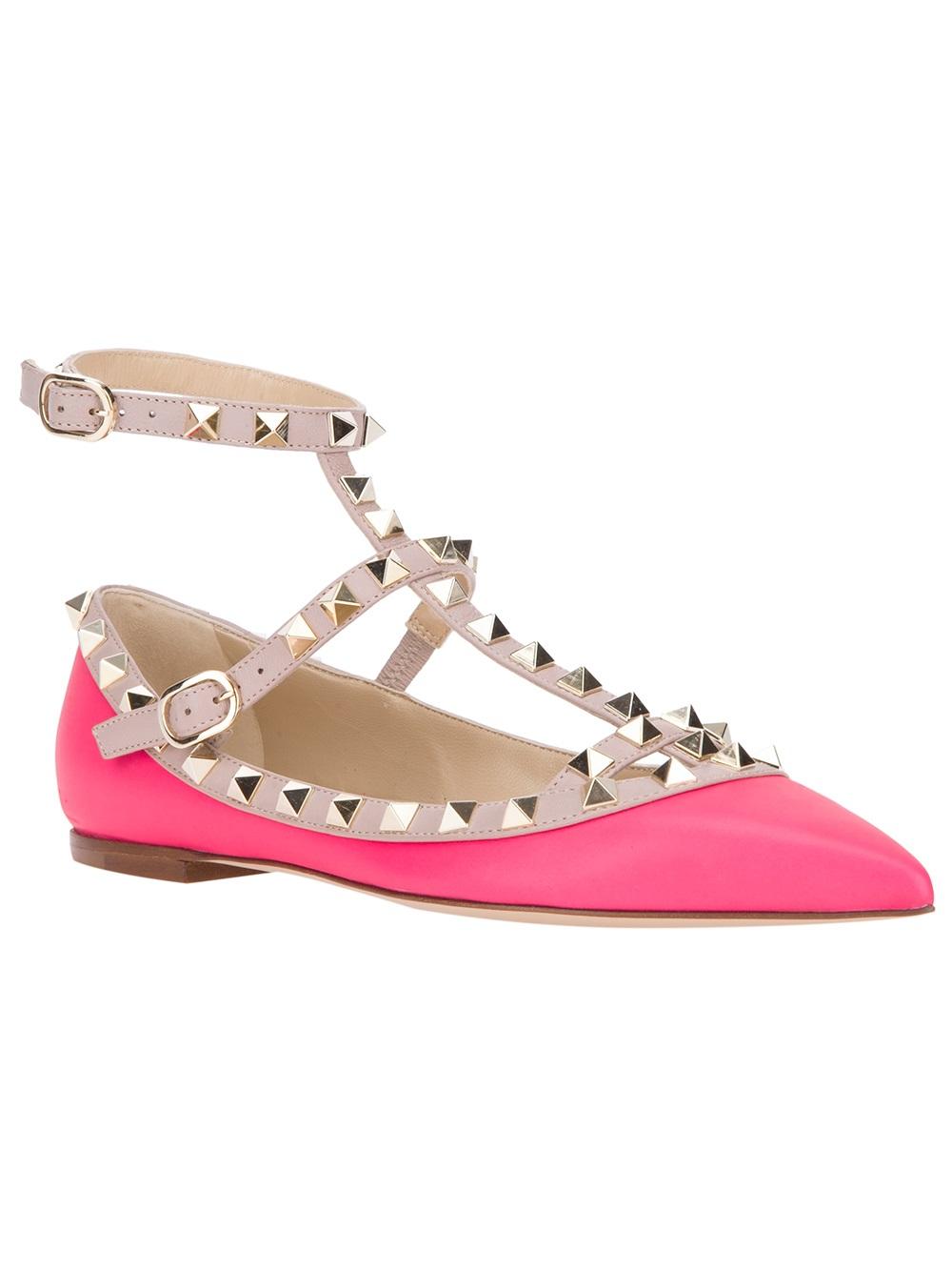 72a3e91561f4 Lyst - Valentino Rockstud Ballerina Flat in Pink