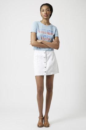 Topshop Moto Denim Button Front A-Line Skirt in White | Lyst