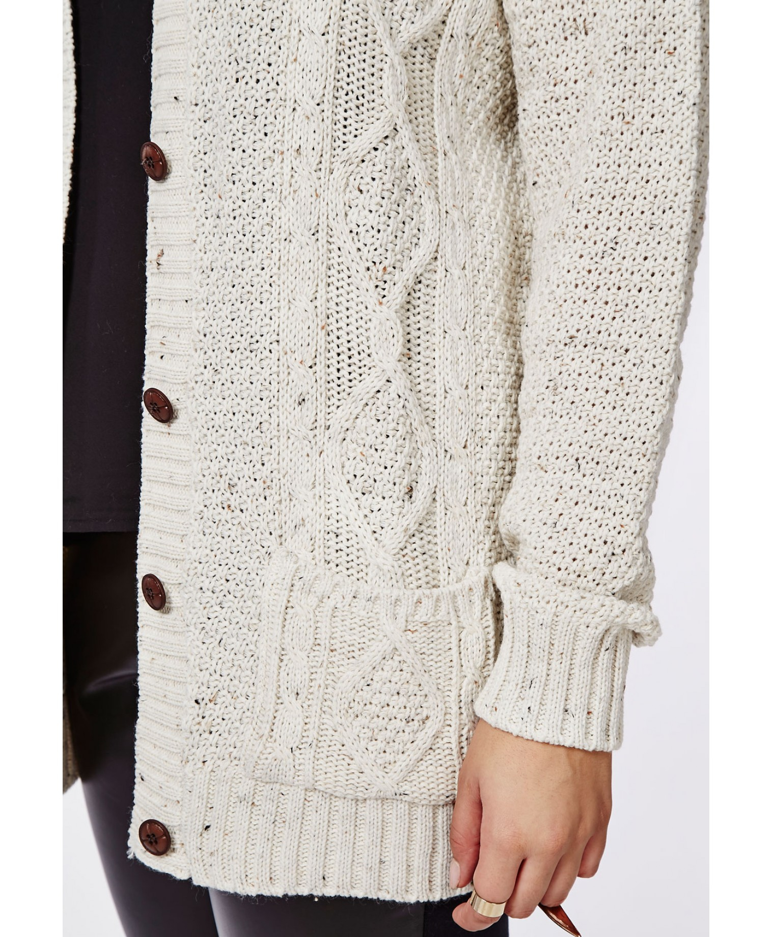 Missguided Plus Size Longline Chunky Knit Cardigan Cream in ...
