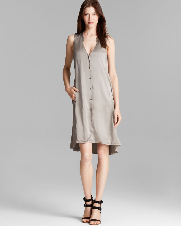 eileen fisher silk shirt dress in gray stone lyst