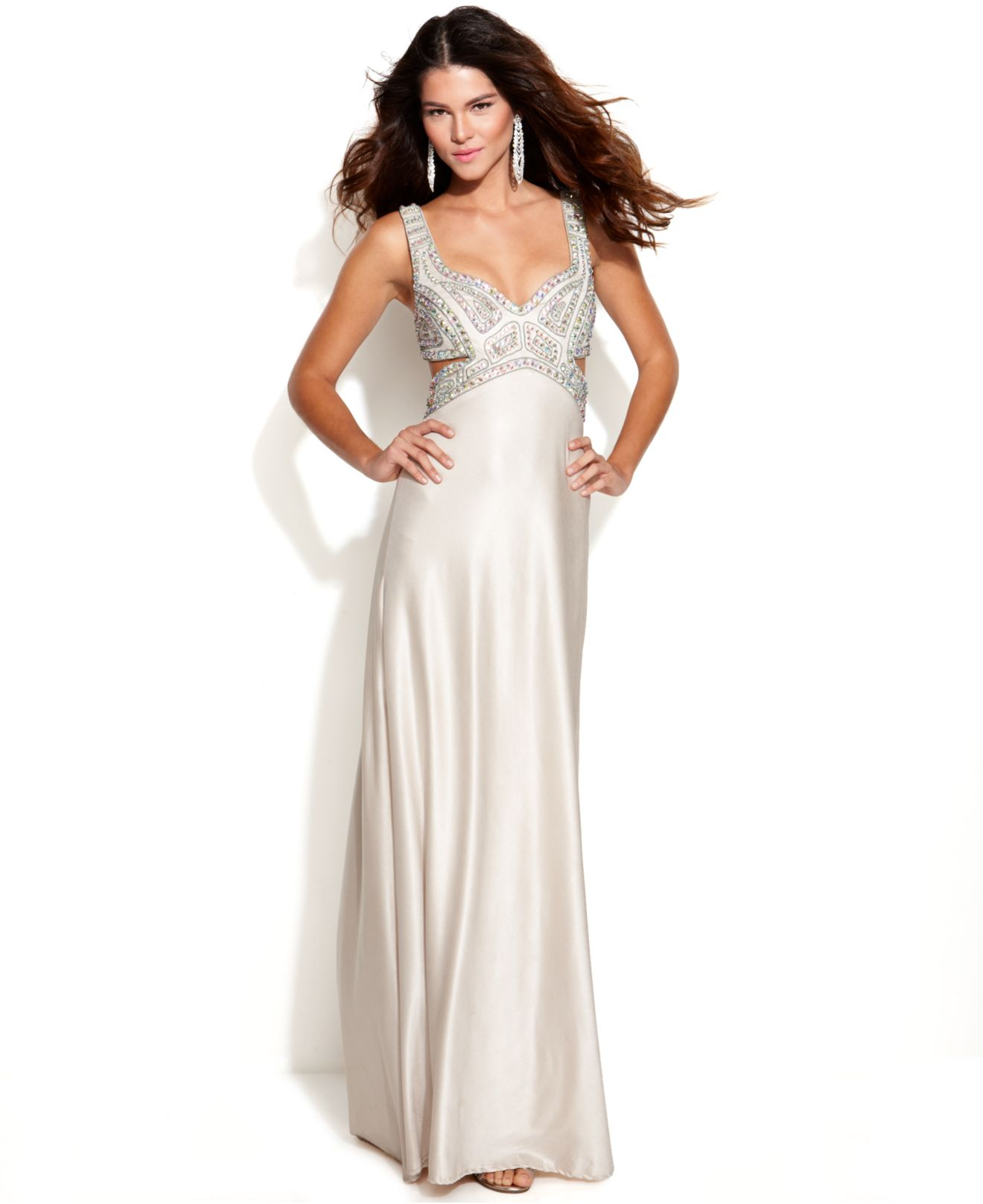 Lyst - Betsy & Adam Sleeveless Embellished Cutout Gown in White