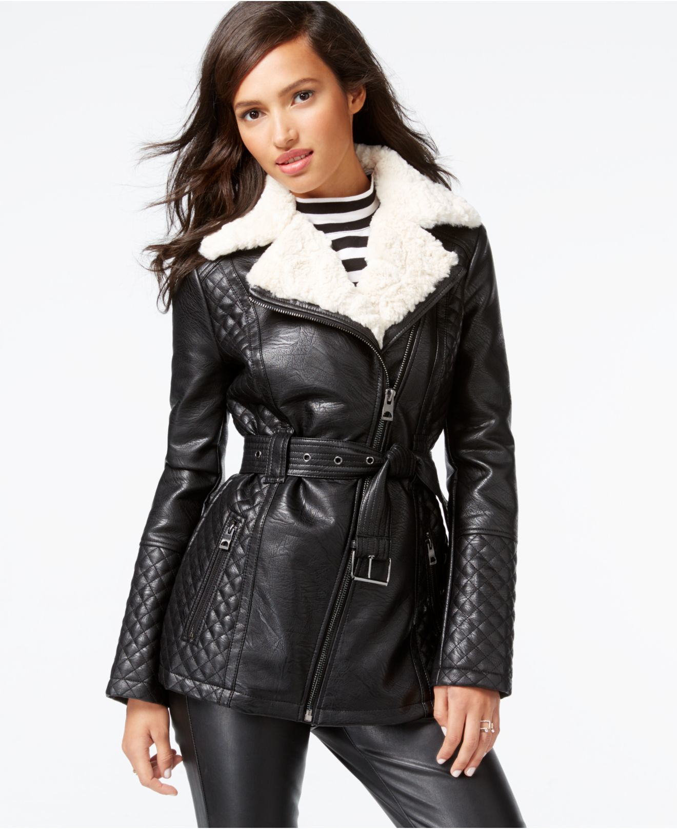 Guess Faux-fur-collar Quilted Faux-leather Jacket in Black | Lyst
