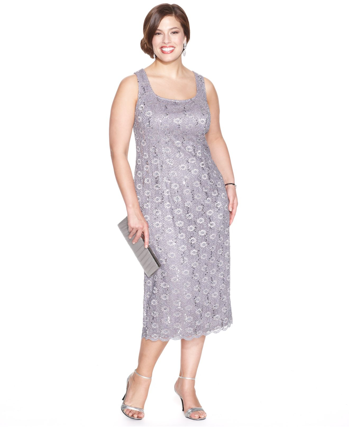 Lyst - Alex evenings Plus Size Sequin Lace Dress And Jacket in Gray