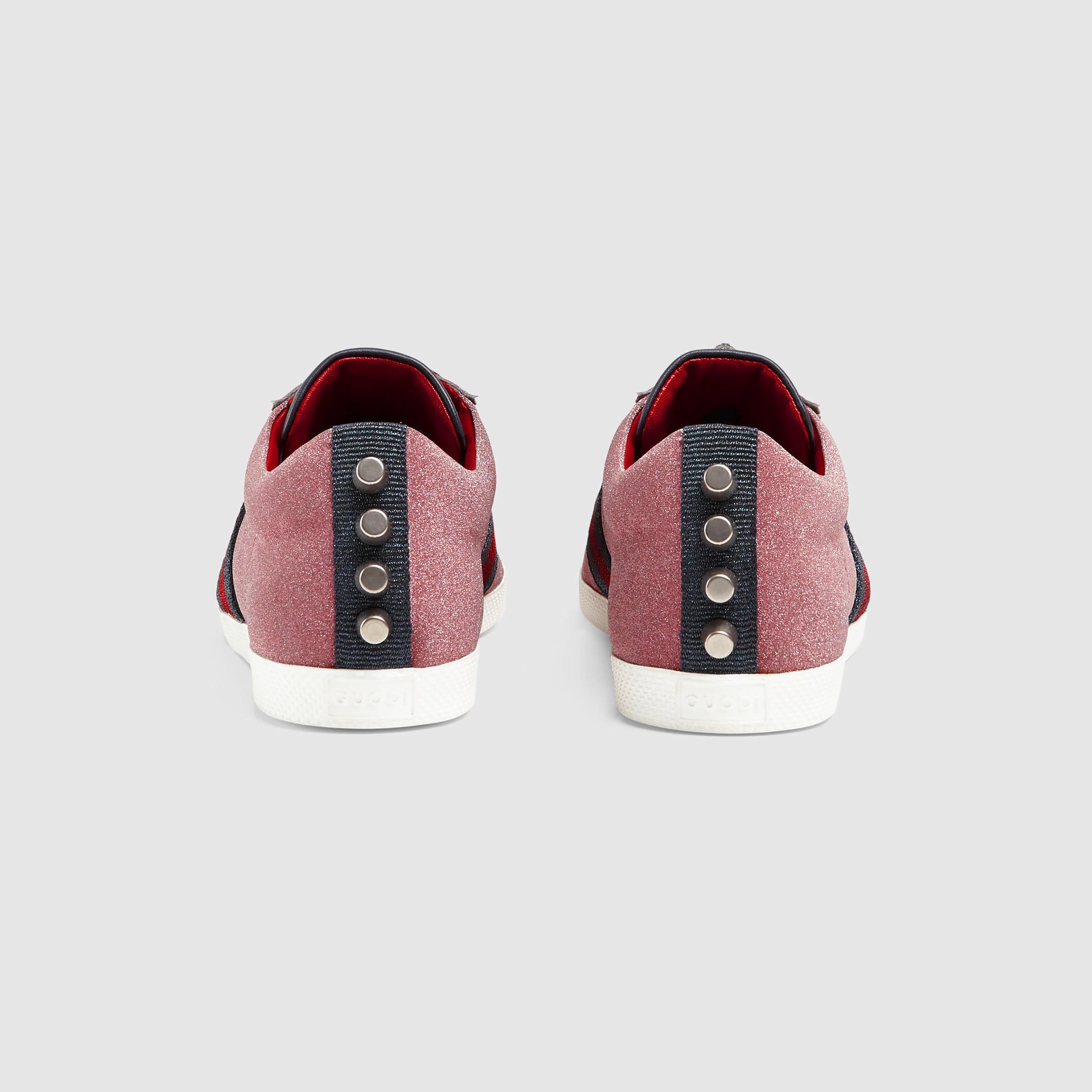 4bfe7c468fd7 Gucci Glitter Web Sneaker in Red - Lyst