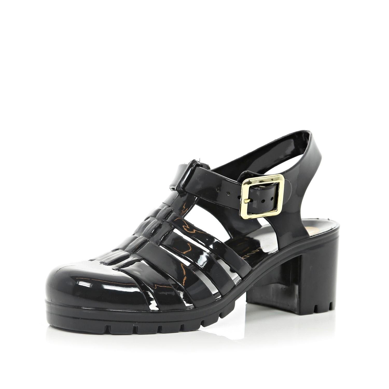 river island black block heel jelly sandals in black lyst