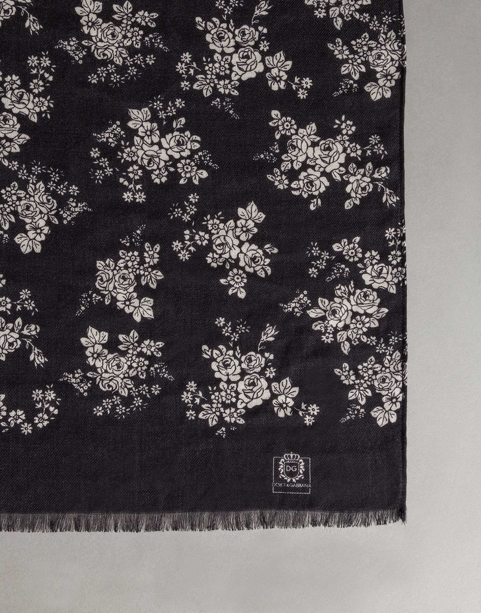 afeb5028796c ... low cost lyst dolce gabbana floral print silk cashmere scarf in black  cec6c c68bb