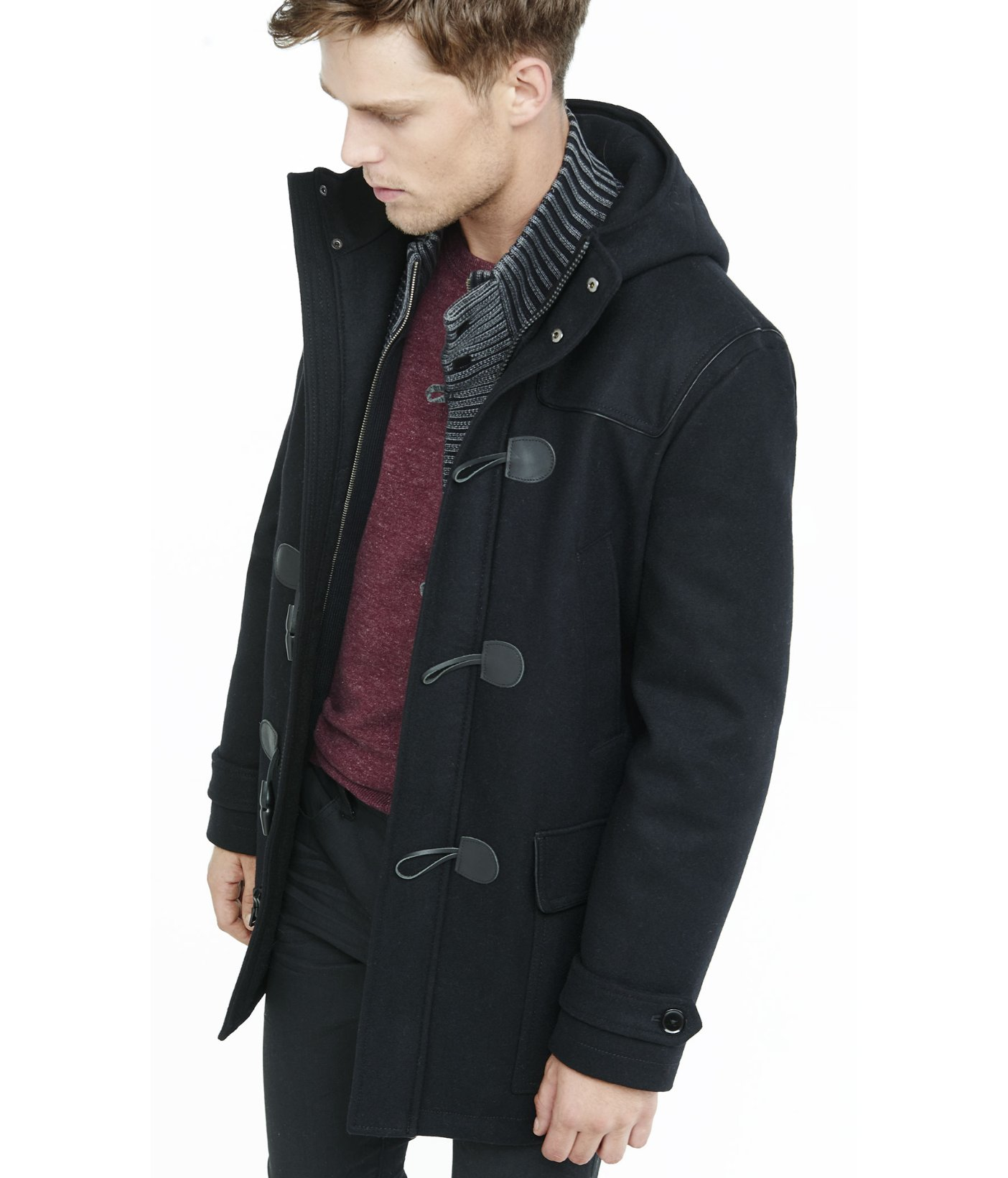 Express Black Hooded Toggle Coat in Black for Men | Lyst
